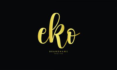 Alphabet letters Initials Monogram logo EKO, EK, KO