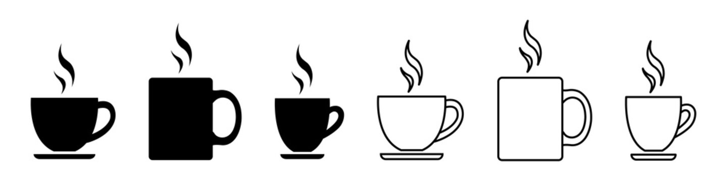 Set of coffee cups icons. Symbols cups coffee with steam. Coffee cup with saucer line art icon for apps and websites. Cup of hot tea, drink. Vector illustration.