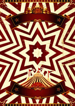 Circus abstract red background. A red circus background for a poster with a ribbon for your message !