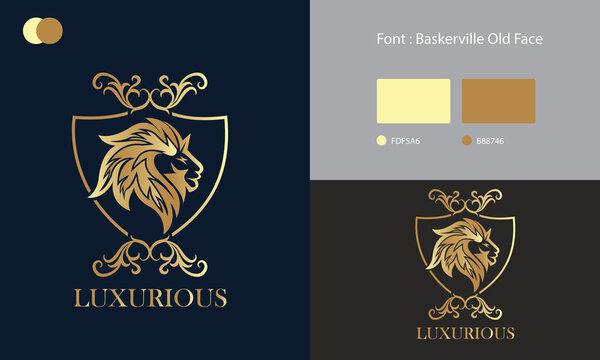 Lion Head Luxury Logo Design Concept Template