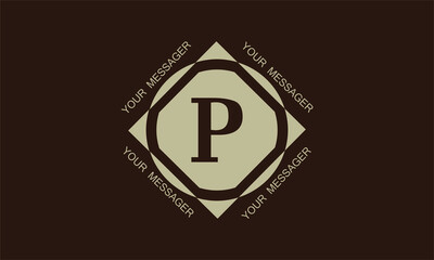 Fototapeta Stylish and elegant graphic monogram with the letter P in brown tones and space for text. Logo design, business emblem. obraz
