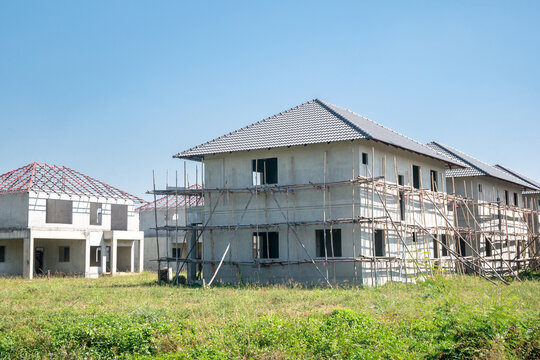 construction residential new house from prefabrication system in progress at building site