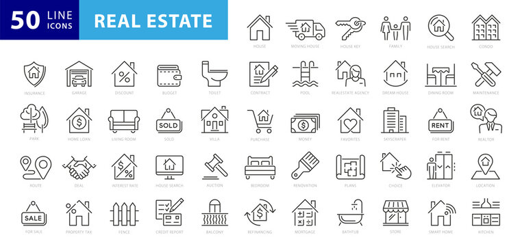 Real Estate minimal thin line web icon set. Included the icons as realty, property, mortgage, home loan and more. Outline icons collection. Simple vector illustration
