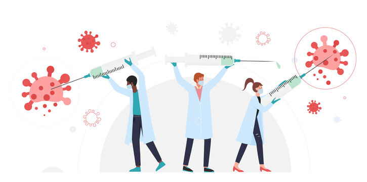 People with syringes fight coronavirus, vaccination concept vector illustration. Cartoon doctor team characters holding big medical vaccine syringes, fighting corona virus cells isolated on white