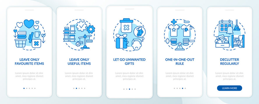 Decluttering tips oonboarding mobile app page screen with concepts. Home cleaning-out and decluttering walkthrough 5 steps graphic instructions. UI vector template with RGB color illustrations