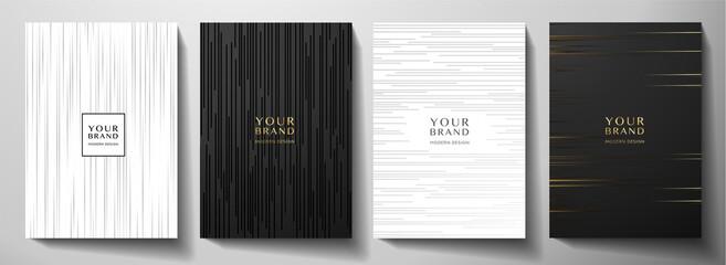 Obraz Modern black and white cover design set. Luxury creative dynamic diagonal line pattern. Formal premium vector background for business brochure, poster, notebook, menu template  - fototapety do salonu