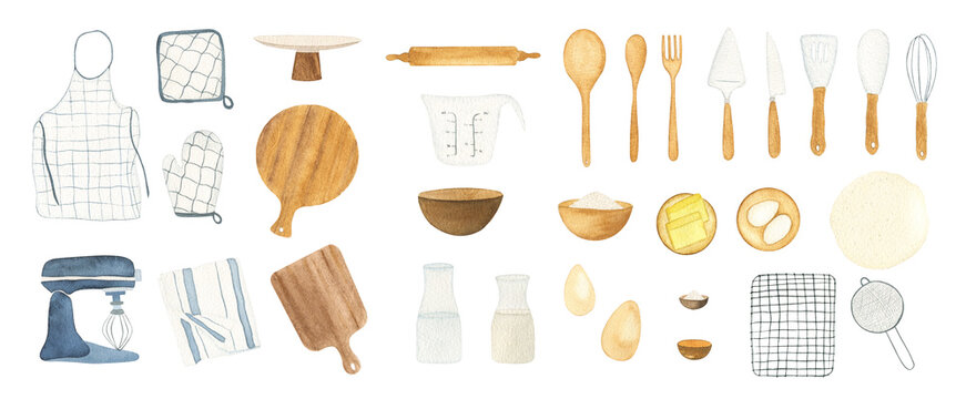 Watercolor baking supplies and baking ingredients collection. Hand drawn isolated design elements set for bakery logo, menu and other DIY projects.