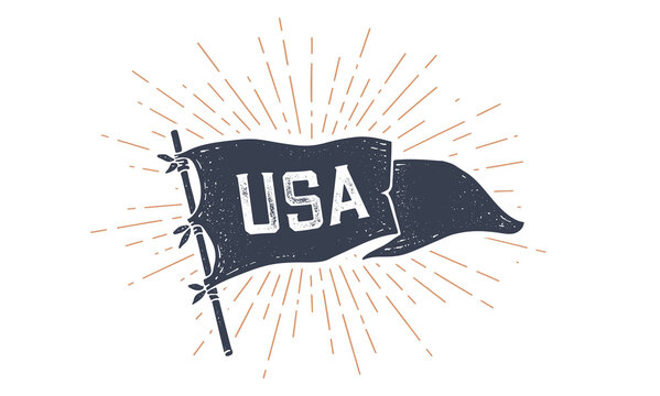 USA. Flag grahpic. Old vintage trendy flag with text USA for United States of America. Old school vintage banner, retro style, sunburst line graphic, United States or US flag. Vector Illustration