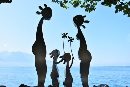 Montreux, Switzerland- August 24, 2019. Sculpture on Leman (Geneva) lakeshore, Montreux Riviera, Switzerland.