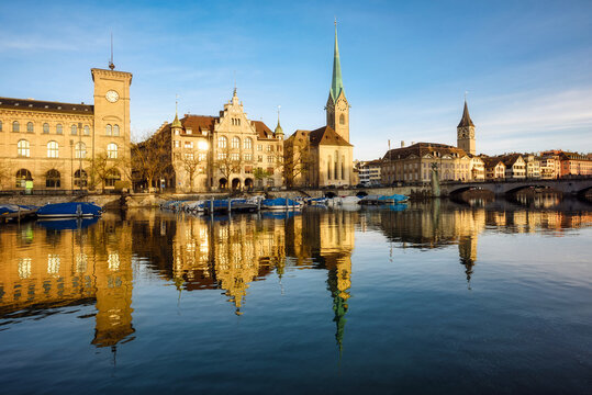 Zurich city's historical Old town facing Limmat river, Switzerland