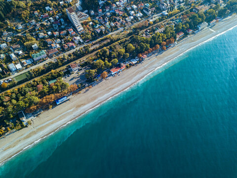 Georgia, Abkhazia, Gagra, Aerial view of Black Sea coastline