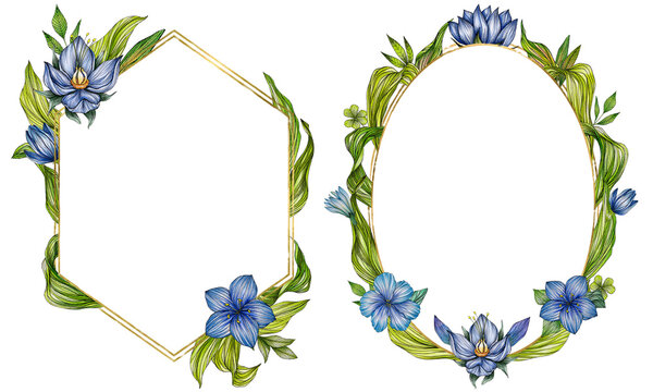 Hand drawn frames with fabulous green leaves and blue flowers for greeting cards and invitations