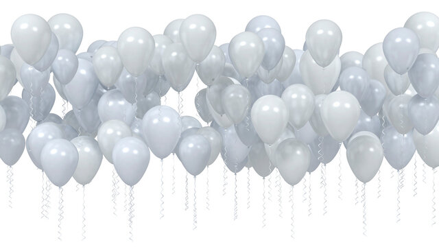 Balloons light blue and silver isolated on white background