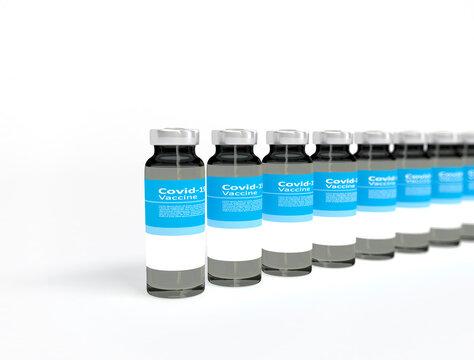 Coronavirus Covid-19 Vaccine bottles in a row on white background. 3D illustration