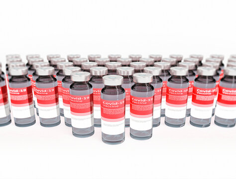 Coronavirus COVID-19 Vaccine Vials in a row with white background. 3d illustration medicine drug bottles