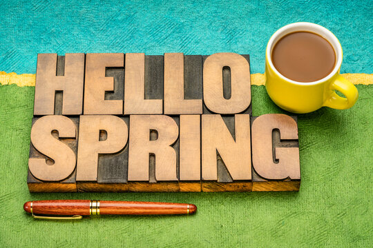 Hello Spring word abstract in vintage letterpress wood type with a cup of coffee against paper abstract landscape, cheerful greetings