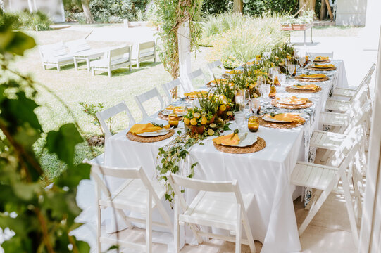 High angle of elegant table served with compositions of lemons and empty tableware prepared for banquet in summer garden