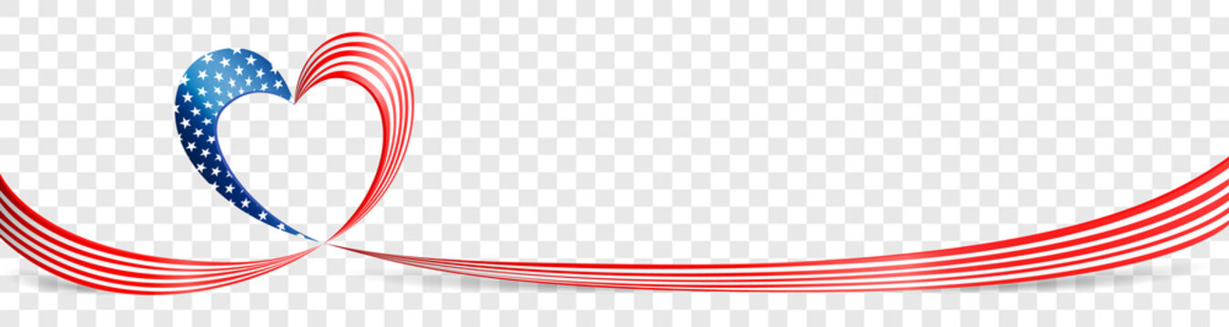 America USA flag heart banner ribbon vector illustration on transparent background isolated