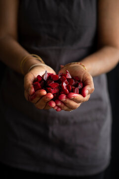 Red beetroot in hand