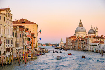 Sunset view of Grand Canal with Basilica di Santa Maria della Salute at background, Venice, Italy