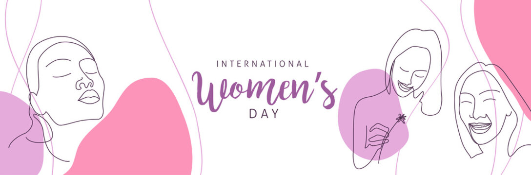 International women's Day greeting card template. Postcard on March 8.