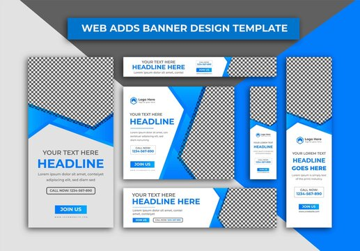 Web Banner, Creative Blue And White Colour Web Adds Banner Or Google Ads Cover Design Template