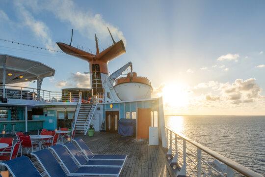 Bahamas Paradise Cruise Line. Detail of the Grand Celebration Cruise Ship