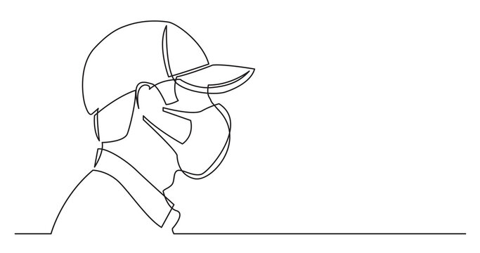 profile portrait of smiling man in baseball cap - continuous line drawing on white background