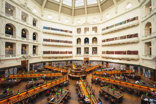 December 29, 2018: The La Trobe Reading Room, aka the dome, of state library of victoria located in Melbourne, Australia. It was designed to hold over a million books and up to 600 readers.