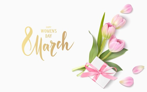 Happy Womens Day. 8 March design template. Calligraphic lettering text with decorative gift box and tulip flowers. Vector illustration