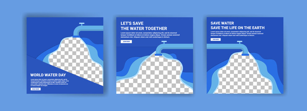 World water day. Social media templates for world water day. Education recognizes the benefits of water for life. Prevent water pollution for the future of the world.