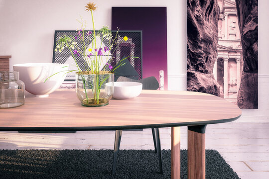 Modern Table Set With Decor - 3D Visualization