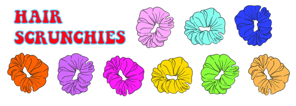 Hair scrunchies. Lettering. Colourful illustration of hair tie in 80's retro style. Vector EPS10.