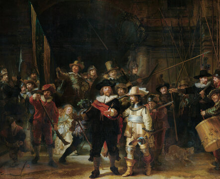 Rembrandt van Rijn (1606-1669) The Shooting Company of Frans Banning Cocq and Willem van Ruytenburch also know as The Night Watch, 1642. Oil on canvas, Rijksmuseum, Amsterdam.