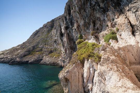 Xlendi, Malta, summer landscape with rocky coasts