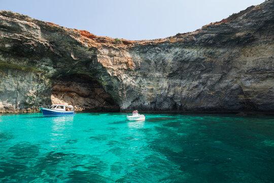 Boats at Blue Lagoon of Comino, Malta