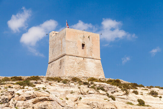 Mgarr ix-Xini, the largest of the coastal watchtowers of Malta