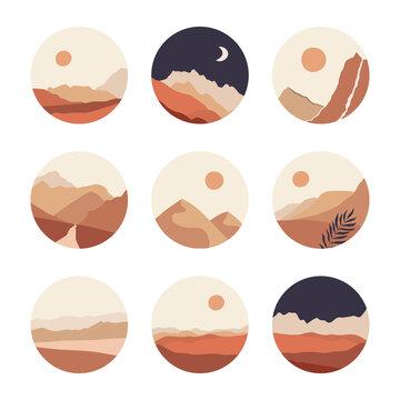 Abstract landscape illustrations set. Mountains, sun, moon, sunset, desert, hills minimalist design. Trendy mid century art, boho home decor, wall art.