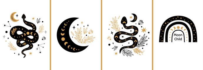 Obraz Mystic cards set. Mystical boho floral moon, animal, moon serpent, rainbow Celestial elements Esoteric logo - fototapety do salonu