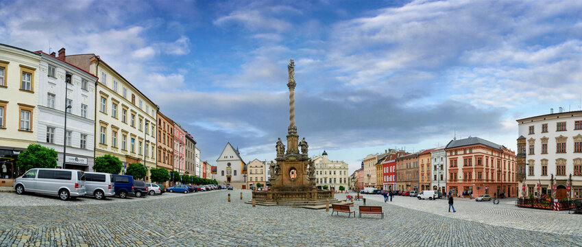 Olomouc, Czech Republic - 16.01.2020: Panoramic view of the Marian plague column at the down square in Olomouc.