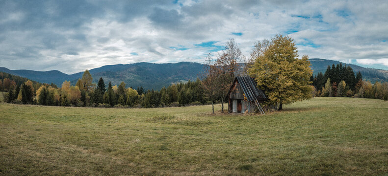 A lonely cabin in the mountains