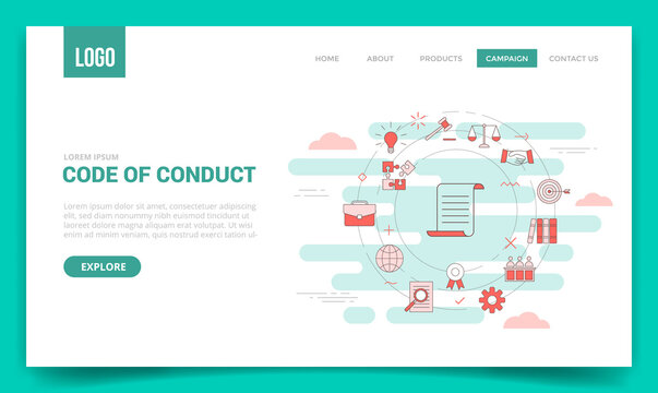 code of conduct concept with circle icon for website template or landing page banner homepage outline style