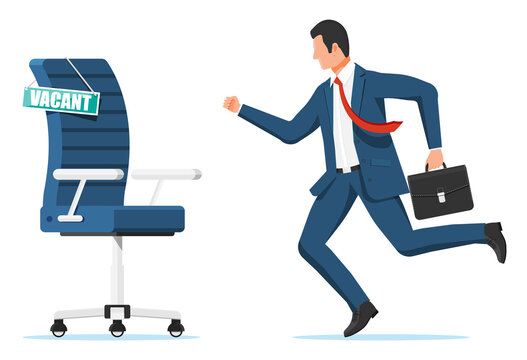 Office chair, sign vacancy. Employee with briefcase. Hiring and recruiting. Human resources management, searching professional staff, work. Found right resume. Flat vector illustration