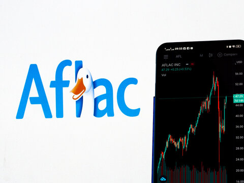 In this photo illustration the stock market information of Aflac Inc. displays on a smartphone while the logo of Aflac Inc. displays as the background