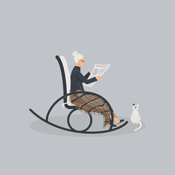 Elderly cute woman is sitting in a rocking chair.Old lady covered her feet with checked woollen plaid.Cartoon granny is reading newspaper in a comfortable rocker.Cat sit next.Raster illustration