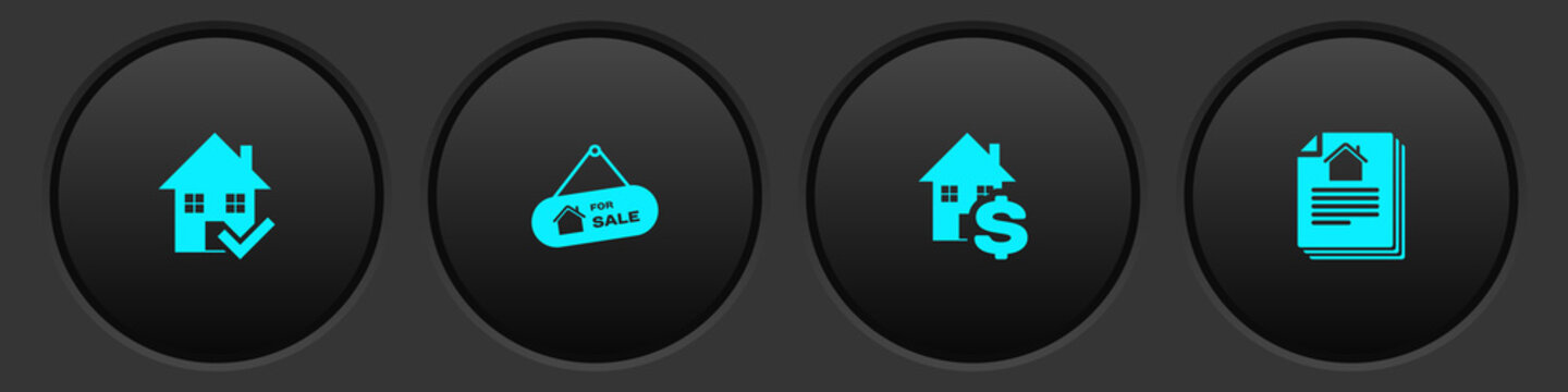 Set House with check mark, Hanging sign For Sale, dollar and contract icon. Vector.