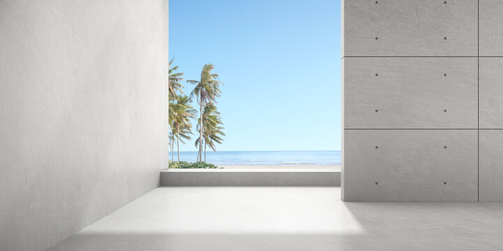 3d render of empty concrete room with large window on the sea background.