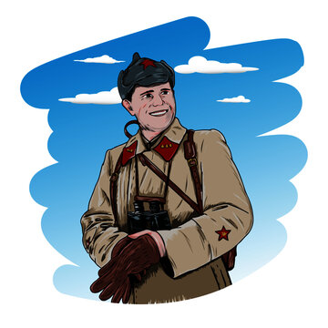 Vector Illustration of a Red Army Soldier