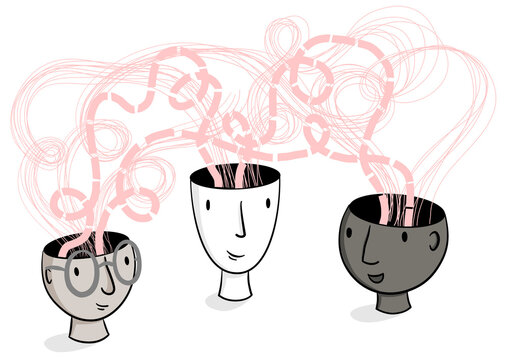 Head Spaces – Line illustration of hand-drawn heads with ideas and thoughts raising from their heads. Creativity, brainstorming, collaboration, inspiration