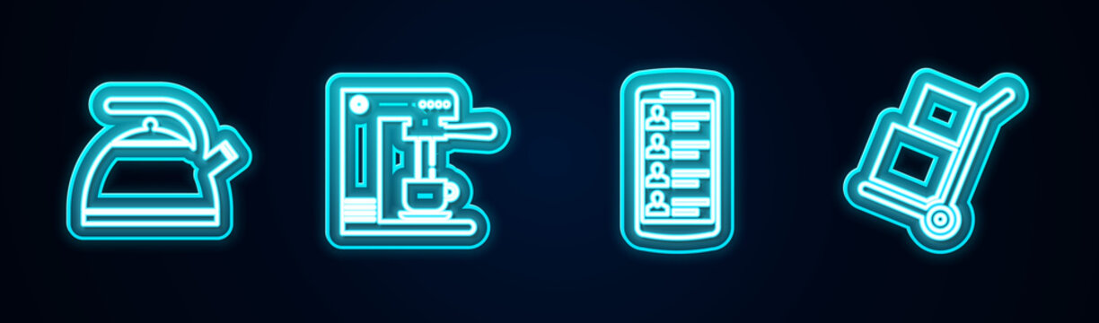 Set line Kettle with handle, Coffee machine cup, Smartphone contacts and Hand truck boxes. Glowing neon icon. Vector.